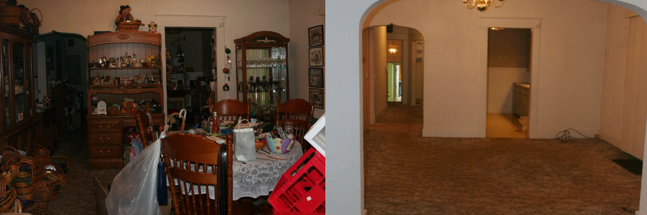 before and after of a dining room in Kokomo IN