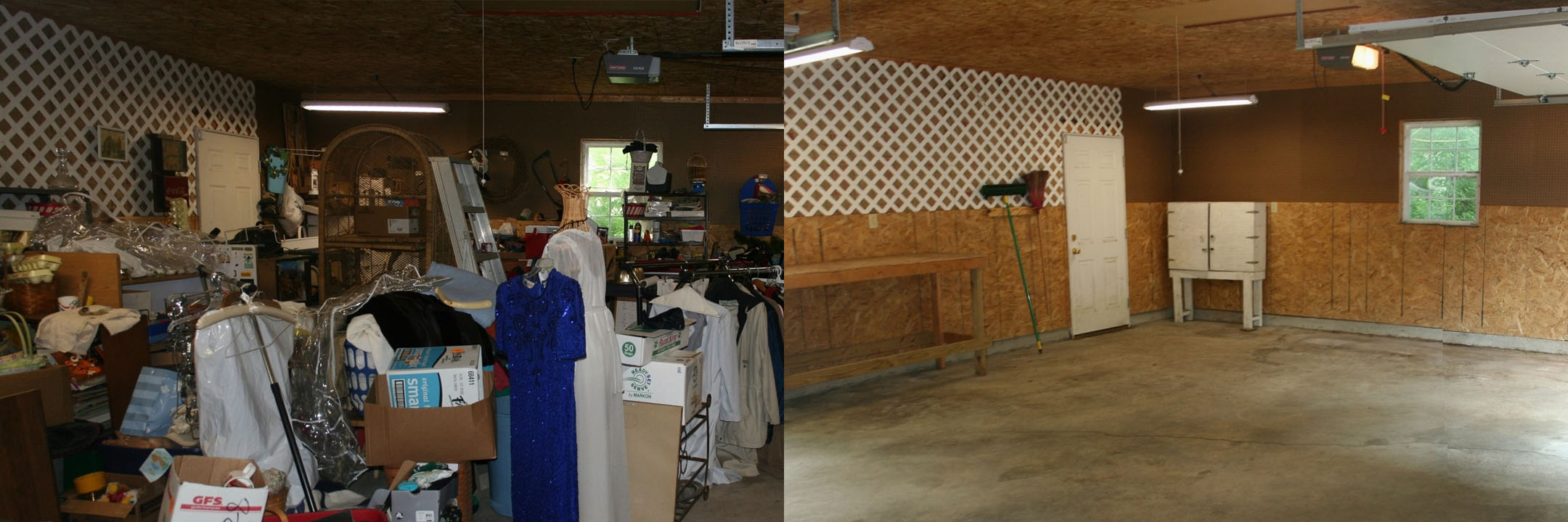 before and after of a garage in Kokomo IN
